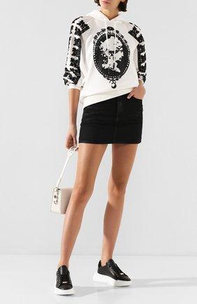 Женские кожаные кеды PHILIPP PLEIN черного цвета, арт. S20S WSC1759 PLE075N | Фото 2