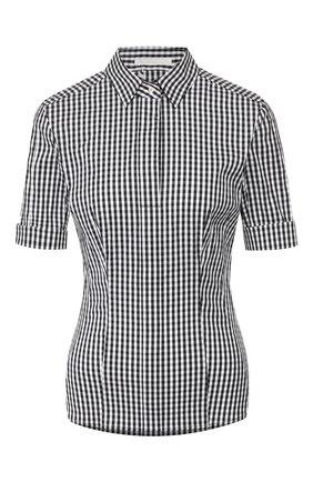 Женская хлопковая блузка BOSS черно-белого цвета, арт. 50426781 | Фото 1
