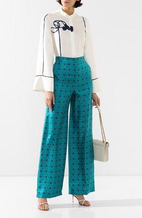 Женские шелковые брюки ESCADA бирюзового цвета, арт. 5032884 | Фото 2