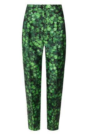 Женские шелковые брюки DOLCE & GABBANA зеленого цвета, арт. FTAM0T/IS1AX | Фото 1