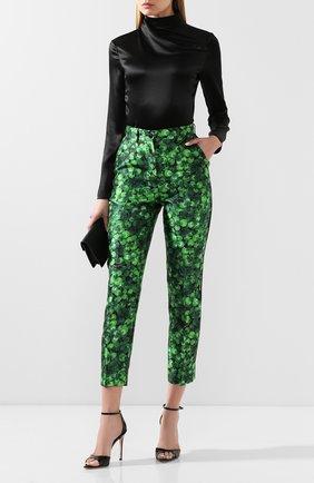 Женские шелковые брюки DOLCE & GABBANA зеленого цвета, арт. FTAM0T/IS1AX | Фото 2