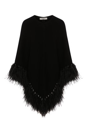 Женская шерстяное пончо VALENTINO черного цвета, арт. TB3KS00H53S | Фото 1