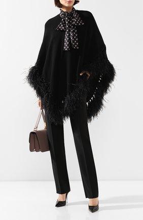 Женская шерстяное пончо VALENTINO черного цвета, арт. TB3KS00H53S | Фото 2