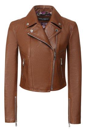 Женская кожаная куртка DOLCE & GABBANA коричневого цвета, арт. F9H18L/HULGN | Фото 1