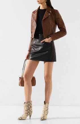 Женская кожаная куртка DOLCE & GABBANA коричневого цвета, арт. F9H18L/HULGN | Фото 2