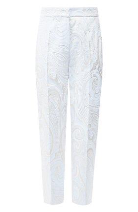 Женские брюки ESCADA светло-голубого цвета, арт. 5032940   Фото 1 (Материал внешний: Синтетический материал, Хлопок; Женское Кросс-КТ: Брюки-одежда; Силуэт Ж (брюки и джинсы): Прямые; Длина (брюки, джинсы): Укороченные)