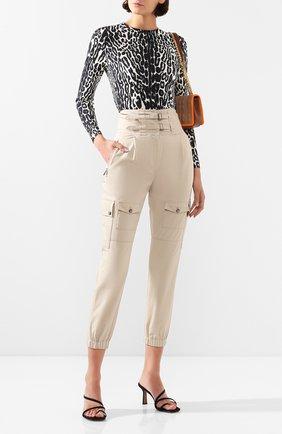 Женские хлопковые брюки DOLCE & GABBANA бежевого цвета, арт. FTBRLT/FU6WE | Фото 2