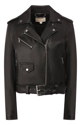 Женская кожаная куртка MICHAEL MICHAEL KORS черного цвета, арт. MH82HYG8FX | Фото 1