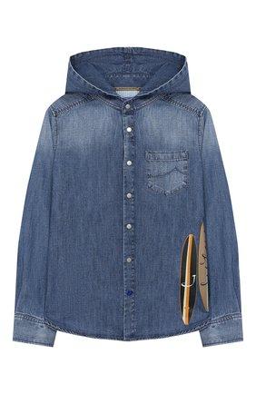 Детская джинсовая рубашка с капюшоном JACOB COHEN синего цвета, арт. J8009 T-01008-W3 | Фото 1