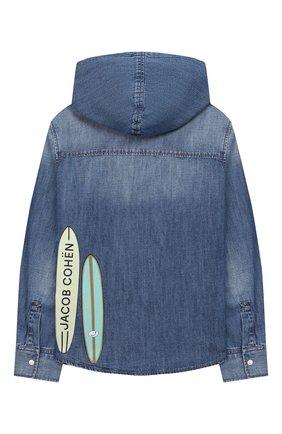 Детская джинсовая рубашка с капюшоном JACOB COHEN синего цвета, арт. J8009 T-01008-W3 | Фото 2