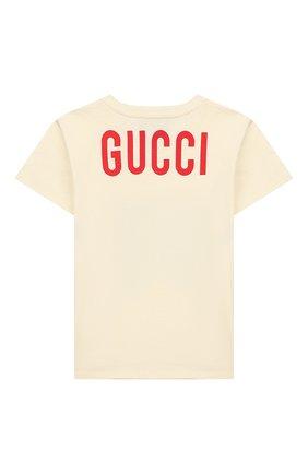 Детский хлопковая футболка GUCCI белого цвета, арт. 548034/XJB5G | Фото 2