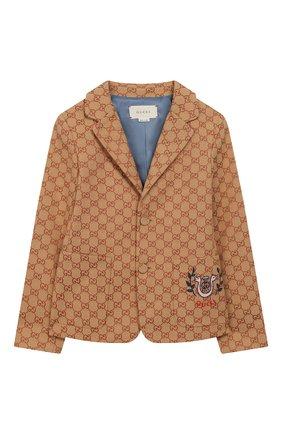 Детский хлопковый пиджак GUCCI бежевого цвета, арт. 574013/XWAGF | Фото 1