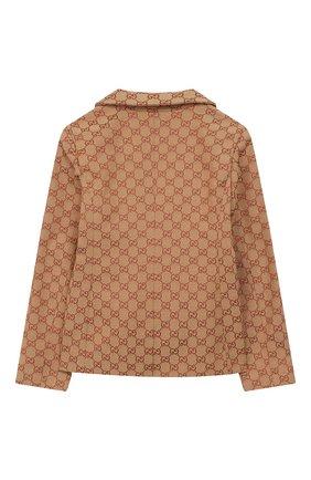 Детский хлопковый пиджак GUCCI бежевого цвета, арт. 574013/XWAGF | Фото 2