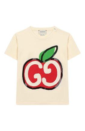 Детский хлопковая футболка GUCCI белого цвета, арт. 581019/XJCDC | Фото 1