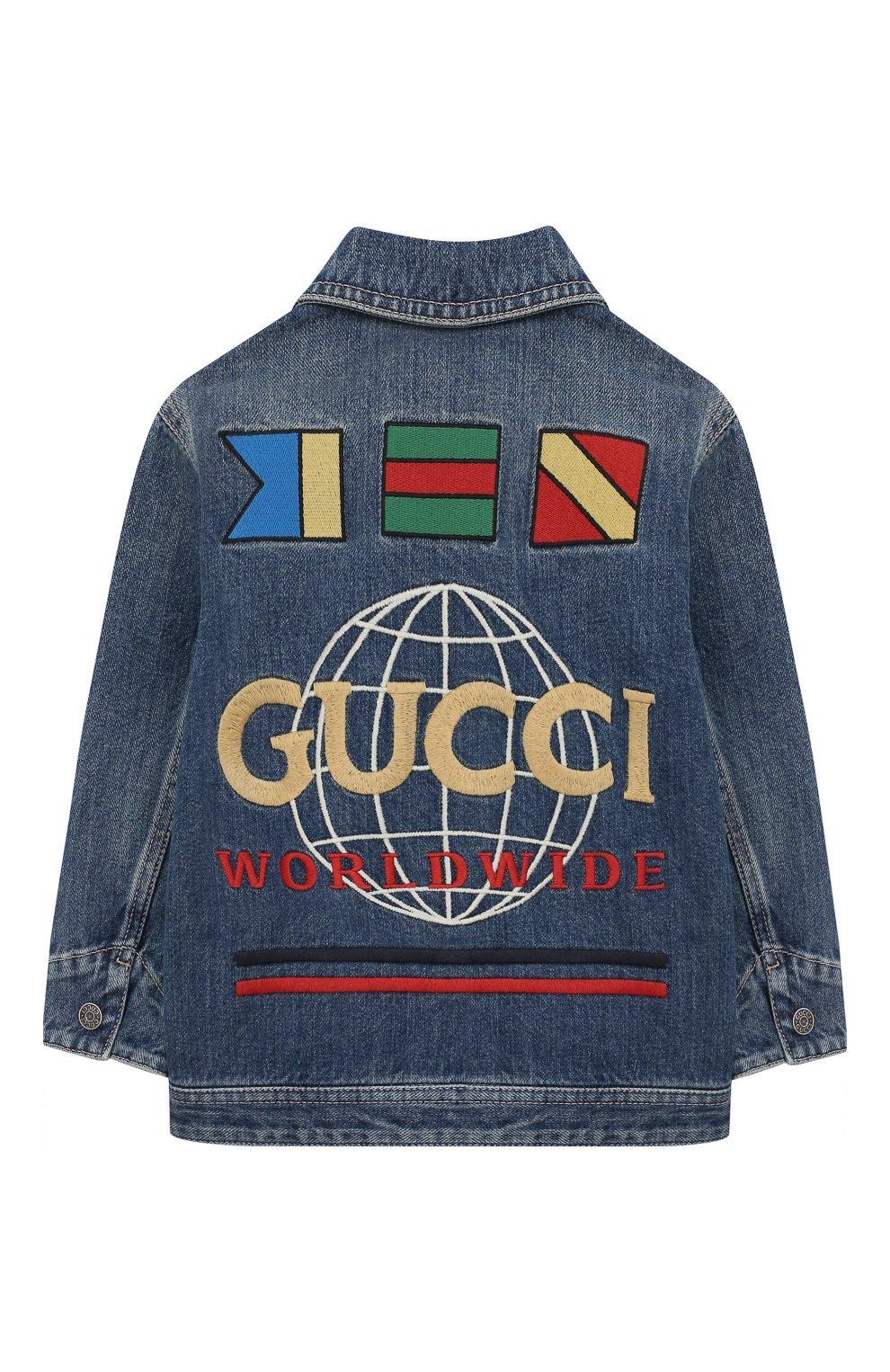 Детского джинсовая куртка GUCCI синего цвета, арт. 591308/XDAZK | Фото 2