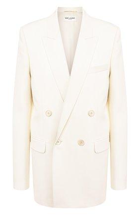 Женский шерстяной жакет SAINT LAURENT белого цвета, арт. 603022/Y690U | Фото 1