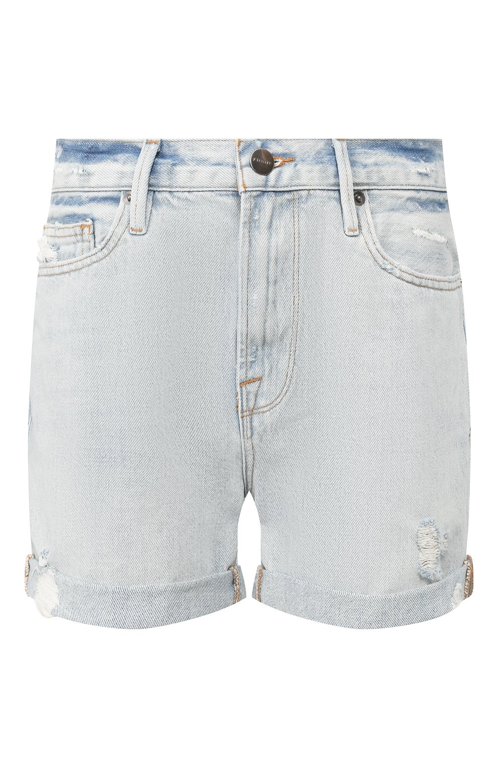 Женские джинсовые шорты FRAME DENIM голубого цвета, арт. LBUSCF385/A   Фото 1 (Женское Кросс-КТ: Шорты-одежда; Кросс-КТ: Деним; Длина Ж (юбки, платья, шорты): Мини; Материал внешний: Хлопок; Стили: Кэжуэл)
