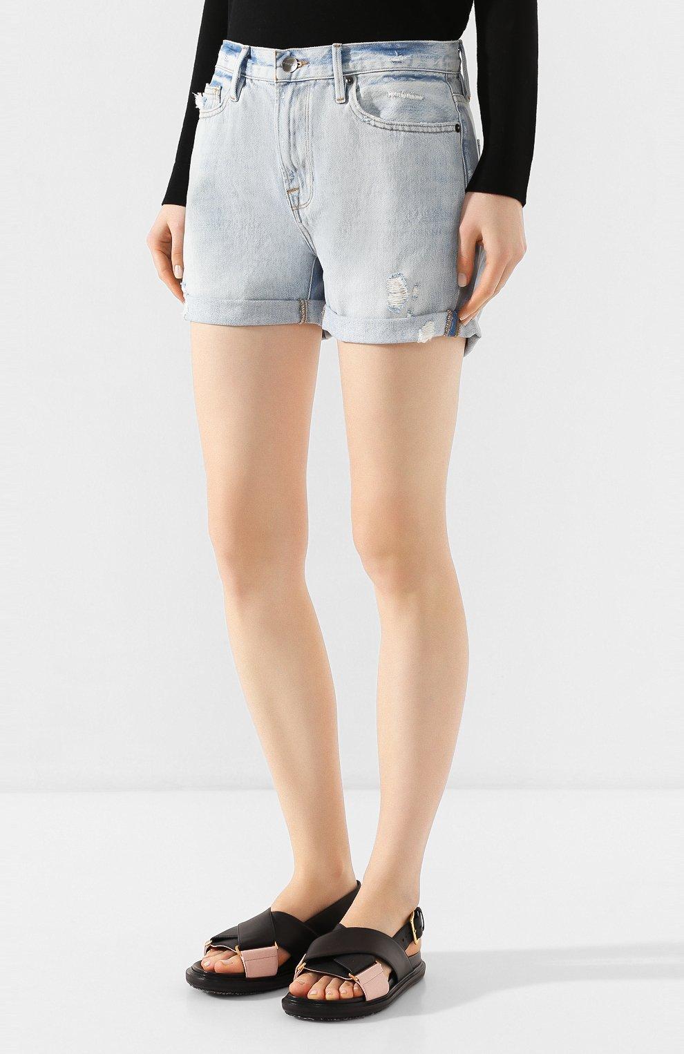 Женские джинсовые шорты FRAME DENIM голубого цвета, арт. LBUSCF385/A   Фото 3 (Женское Кросс-КТ: Шорты-одежда; Кросс-КТ: Деним; Длина Ж (юбки, платья, шорты): Мини; Материал внешний: Хлопок; Стили: Кэжуэл)