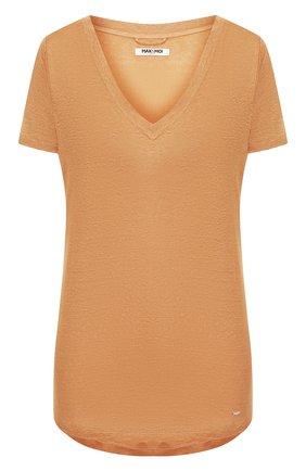 Женская льняная футболка MAX&MOI коричневого цвета, арт. E20T0KY0 | Фото 1