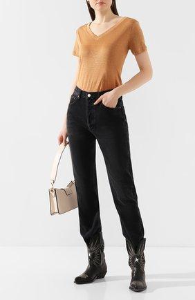 Женская льняная футболка MAX&MOI коричневого цвета, арт. E20T0KY0 | Фото 2