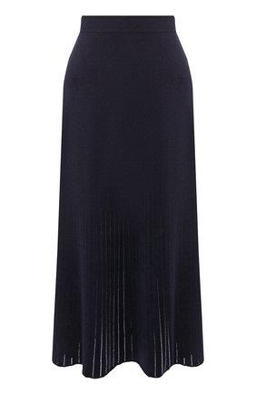 Женская юбка из смеси шелка и хлопка LORO PIANA темно-синего цвета, арт. FAI9429 | Фото 1