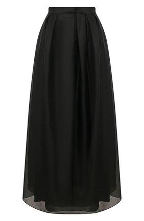 Женская юбка из шелка и хлопка GIORGIO ARMANI черного цвета, арт. 0SHNN03B/T01IB | Фото 1 (Материал внешний: Шелк, Хлопок; Материал подклада: Шелк; Длина Ж (юбки, платья, шорты): Макси)