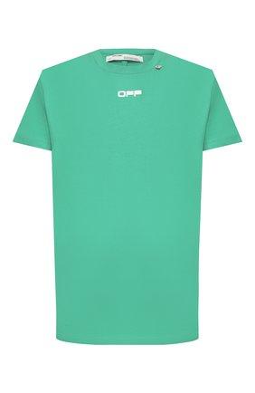 Мужская хлопковая футболка OFF-WHITE зеленого цвета, арт. 0MAA027S201850054488 | Фото 1