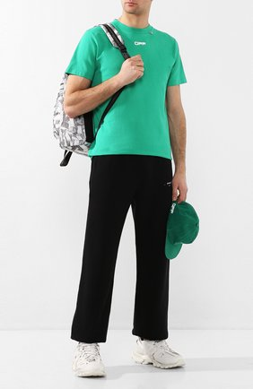 Мужская хлопковая футболка OFF-WHITE зеленого цвета, арт. 0MAA027S201850054488 | Фото 2