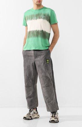 Мужская хлопковая футболка OFF-WHITE зеленого цвета, арт. 0MAA036S201850254401 | Фото 2