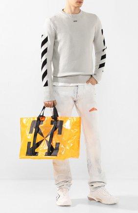 Мужской хлопковый свитер OFF-WHITE светло-серого цвета, арт. 0MHE023S20G730220610 | Фото 2