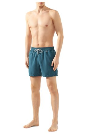 Мужские плавки-шорты LORO PIANA зеленого цвета, арт. FAG1762 | Фото 2 (Материал внешний: Синтетический материал; Принт: Без принта; Кросс-КТ: Пляж; Мужское Кросс-КТ: плавки-шорты)