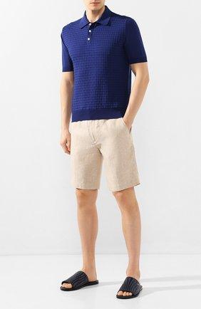 Мужские льняные шорты LORO PIANA бежевого цвета, арт. FAI5747 | Фото 2