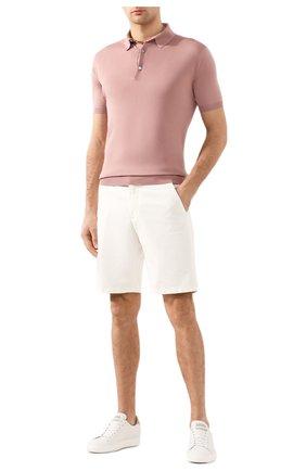 Мужское хлопковое поло LORO PIANA розового цвета, арт. FAI6175 | Фото 2