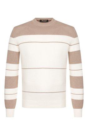 Мужской свитер из смеси хлопка и шелка LORO PIANA бежевого цвета, арт. FAI9911 | Фото 1