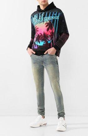 Мужской хлопковое худи BALMAIN разноцветного цвета, арт. TH03990/I293 | Фото 2