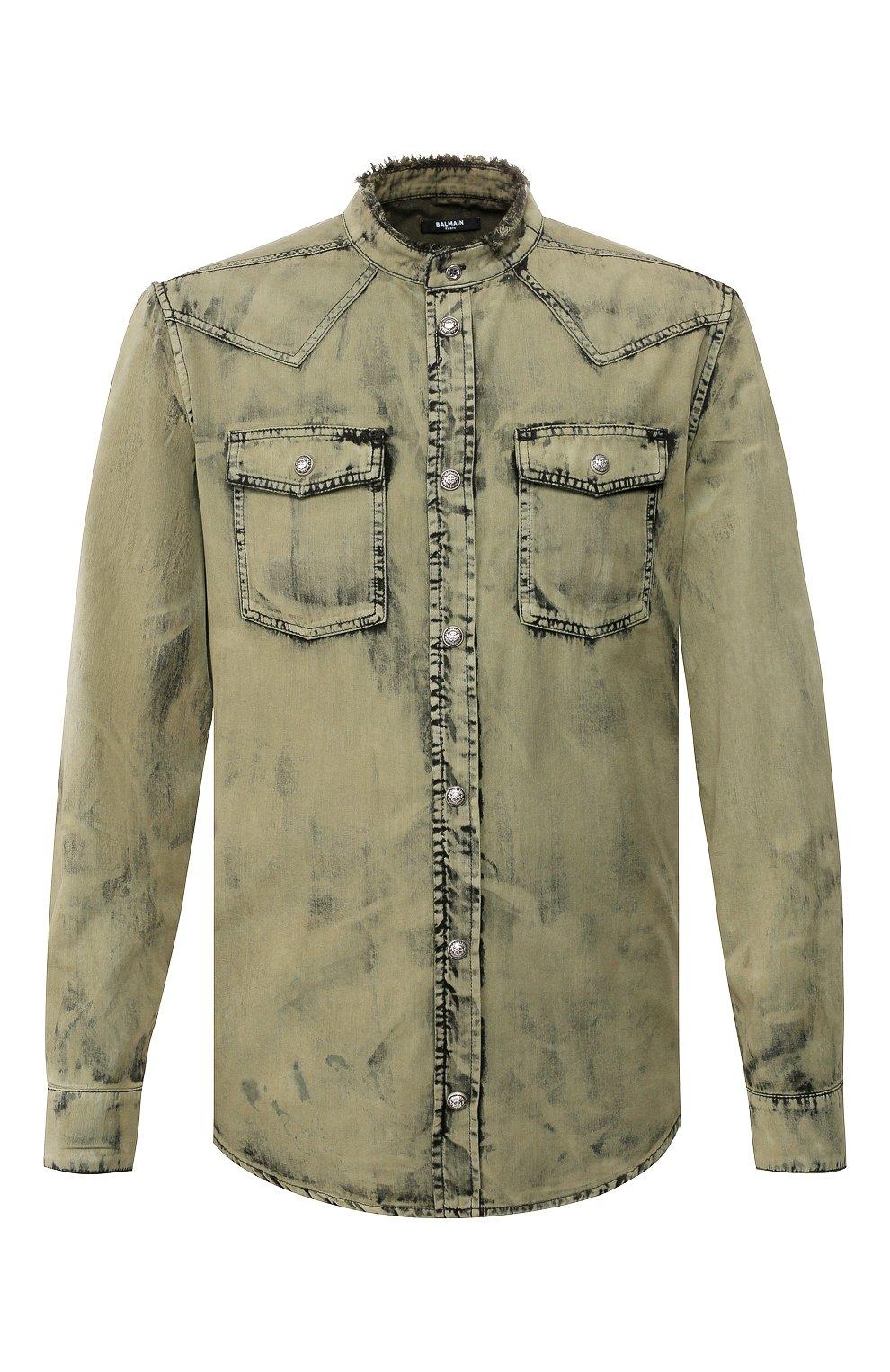 Мужская джинсовая рубашка BALMAIN хаки цвета, арт. TH12159/Z220 | Фото 1