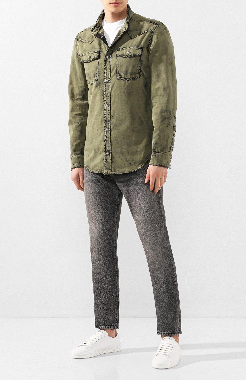 Мужская джинсовая рубашка BALMAIN хаки цвета, арт. TH12159/Z220 | Фото 2