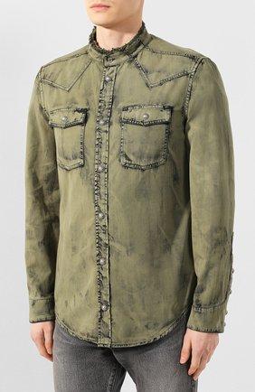 Мужская джинсовая рубашка BALMAIN хаки цвета, арт. TH12159/Z220 | Фото 3