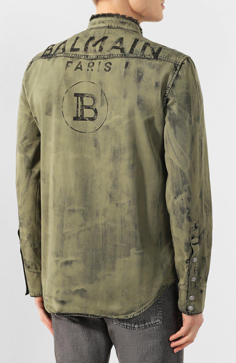 Мужская джинсовая рубашка BALMAIN хаки цвета, арт. TH12159/Z220 | Фото 4
