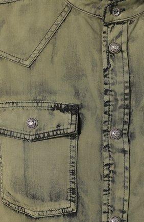 Мужская джинсовая рубашка BALMAIN хаки цвета, арт. TH12159/Z220 | Фото 5