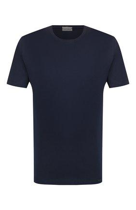 Мужская хлопковая футболка HANRO темно-синего цвета, арт. 075050 | Фото 1 (Материал внешний: Хлопок; Длина (для топов): Стандартные; Кросс-КТ: домашняя одежда; Мужское Кросс-КТ: Футболка-белье; Рукава: Короткие)