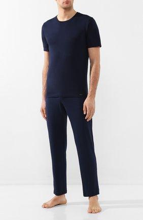 Мужская хлопковая футболка HANRO темно-синего цвета, арт. 075050 | Фото 2 (Материал внешний: Хлопок; Длина (для топов): Стандартные; Кросс-КТ: домашняя одежда; Мужское Кросс-КТ: Футболка-белье; Рукава: Короткие)