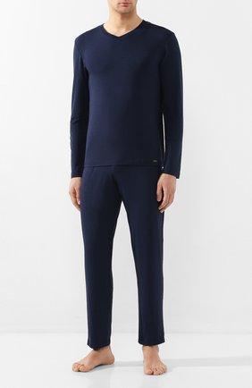 Мужские домашние брюки из вискозы HANRO темно-синего цвета, арт. 075040 | Фото 2 (Материал внешний: Вискоза; Кросс-КТ: домашняя одежда; Длина (брюки, джинсы): Стандартные; Мужское Кросс-КТ: Брюки-белье)