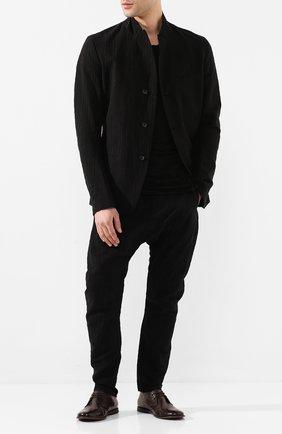 Мужской брюки из смеси хлопка и льна MASNADA черного цвета, арт. M2406 | Фото 2
