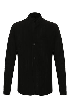 Мужской пиджак из смеси хлопка и льна MASNADA черного цвета, арт. M2405 | Фото 1