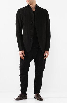 Мужской пиджак из смеси хлопка и льна MASNADA черного цвета, арт. M2405 | Фото 2