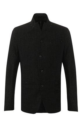 Мужской пиджак из смеси льна и хлопка MASNADA черного цвета, арт. M2400 | Фото 1