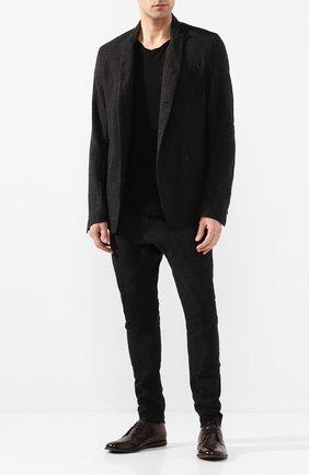 Мужской пиджак из смеси льна и хлопка MASNADA черного цвета, арт. M2400 | Фото 2