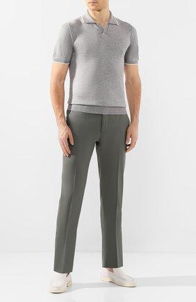 Мужское поло из смеси шелка и хлопка LUCIANO BARBERA серого цвета, арт. 109D04/53349   Фото 2