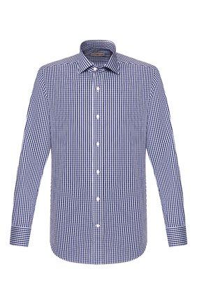 Мужская хлопковая рубашка LUCIANO BARBERA синего цвета, арт. 105489/72701 | Фото 1